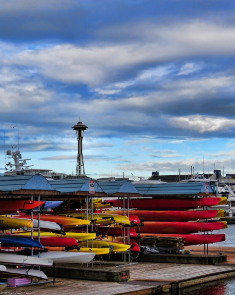 Seattle in the Morning with Kayaks